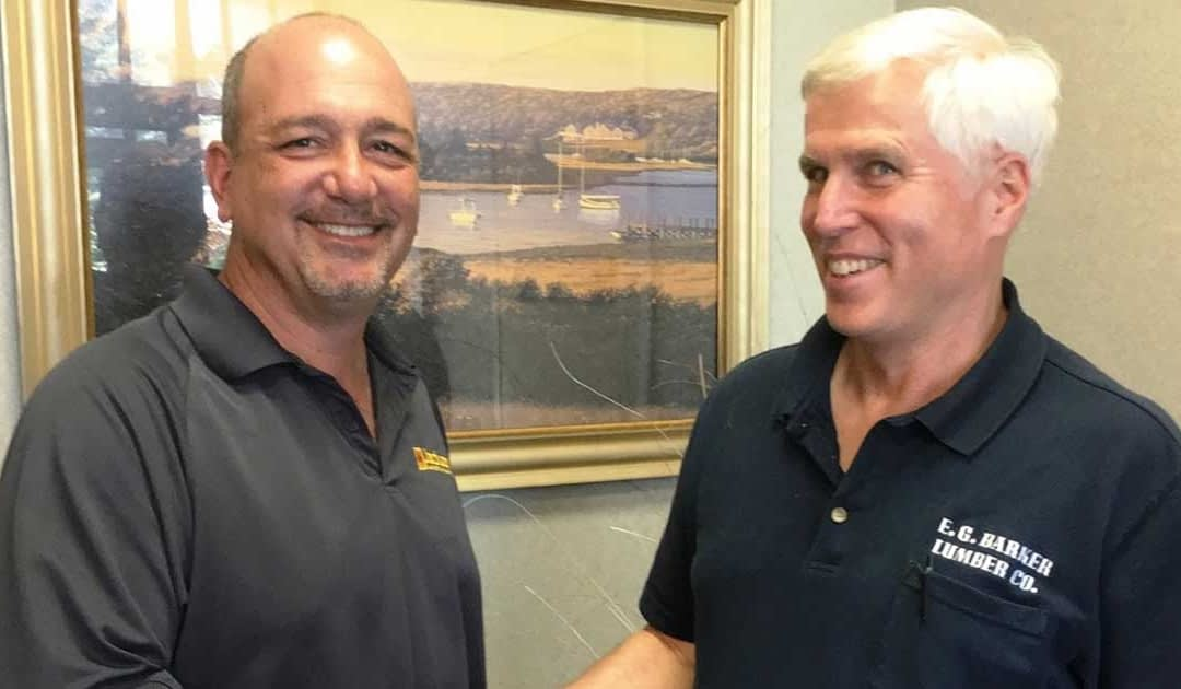 Mark Torrisi, president of Jackson Lumber & Millwork with John Denison, president of E.G. Barker Lumber
